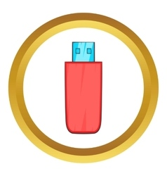 Red usb flash drive icon vector