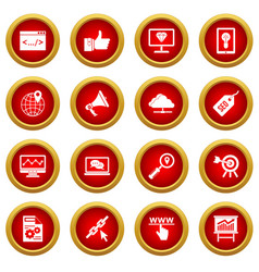 Seo icon red circle set vector