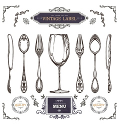 Set of vintage decorations elements vintage spoon vector