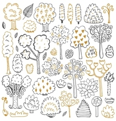 Sketch pattern with trees and leaves vector image