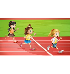 Three kids jogging vector image