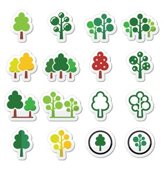 Trees forest park icons set vector image vector image