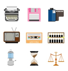 Vintage equipment icon set vector