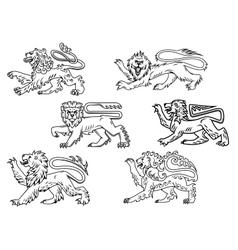 Vintage heraldic lions set vector