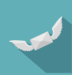 White envelope with two wings icon flat style vector