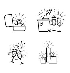 Engagement items icons set vector
