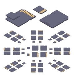 Isometric flat sd memory card vector