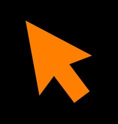 arrow sign orange icon on black vector image