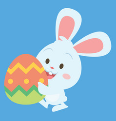 Easter bunny with big egg art vector