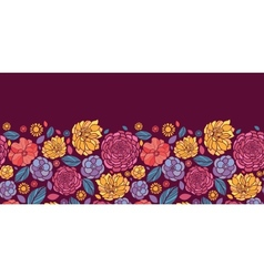 Summer flowers horizontal seamless pattern vector