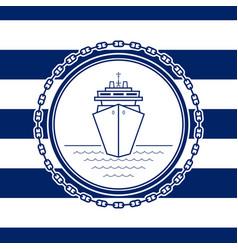 Sea emblem with a liner vector