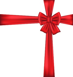 Red bow for packing gift vector