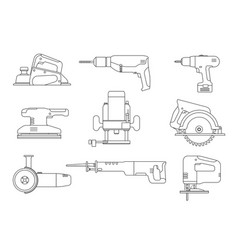 Electric tools line icons vector
