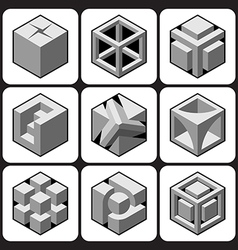 Cube icon set 1 vector