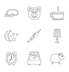Bed time rest icon set outline style vector
