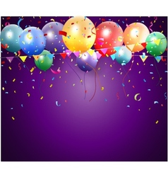 Birthday poster with balloon and confetti vector