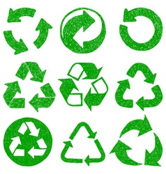 Recycle doodle icons vector image