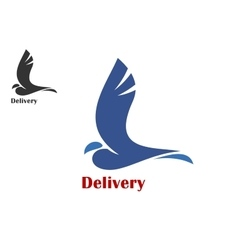 Fast delivery symbol with flying bird vector