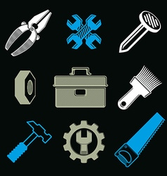 Set of 3d detailed tools repair theme stylized vector