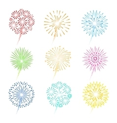 Festive fireworks icons vector