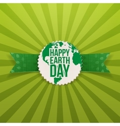 Happy earth day emblem and festive ribbon vector