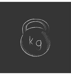 Kettlebell drawn in chalk icon vector