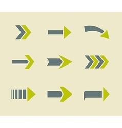 Green arrows icons sign collection vector