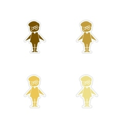 Concept of paper stickers on white background boy vector