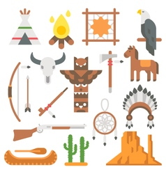 Flat design native americans items set vector image