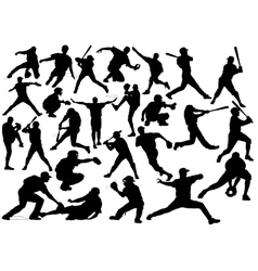 Baseball player silhouettes vector image