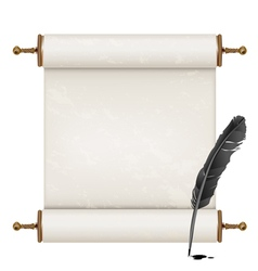 Black feather and ancient scroll vector