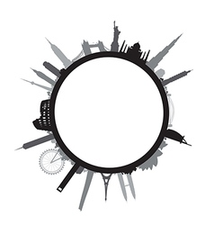 black round cityscape vector image vector image