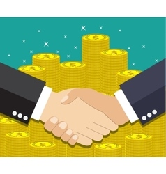 Businessmen handshake on coin background vector image vector image