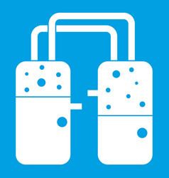 Containers connected with tubes icon white vector