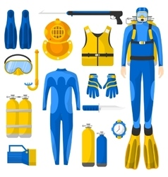 Diving equipment or elements set vector