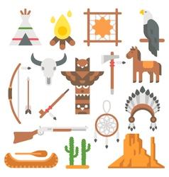 Flat design native americans items set vector image