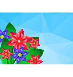 Geometrical polygonal hipster flower card vector