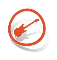 Guitar sign sticker orange vector