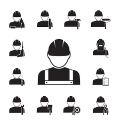 Icons of workmen coupled with different tools vector