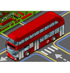 Isometric double decker bus in front view vector