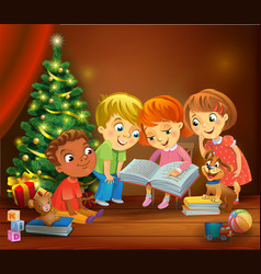Kids reading the book beside a christmas tree vector