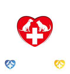 Logo vet clinic pet care dog and cat in the heart vector