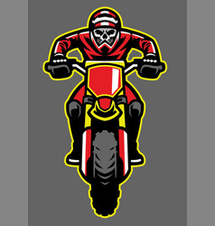 mascot of skull riding motocross vector image vector image