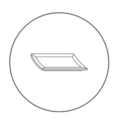 Plate icon in outline style isolated on white vector
