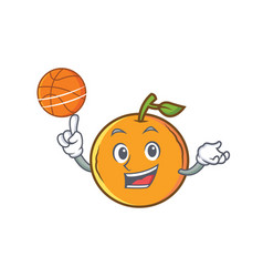 Playing basketball orange fruit cartoon character vector