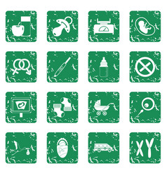 Pregnancy symbols icons set grunge vector
