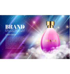 Realistic perfume pink bottles on shine blue vector