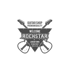 rock star guitar shop label badge emblem vector image