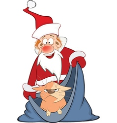 Santa Claus and Cute Cat Cartoon vector image vector image