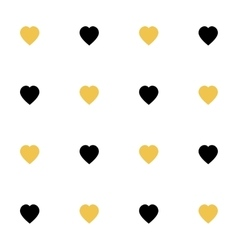 Seamless pattern with black yellow hearts for web vector image vector image